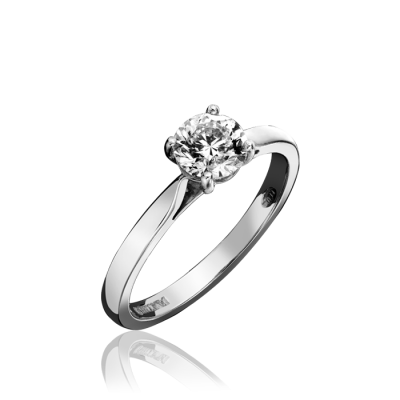 ROUND BRILLIANT CUT FOUR CLAW SET SINGLE STONE DIAMOND RING